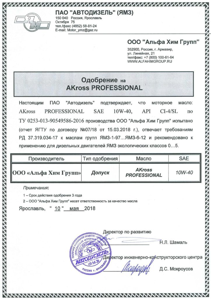 Допуск ЯМЗ для масла AKross Professional SAE 10W-40 API CI-4/SL ACEA E7
